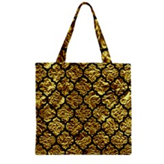 Tile1 Black Marble & Gold Foil (r) Zipper Grocery Tote Bag
