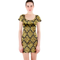Tile1 Black Marble & Gold Foil (r) Short Sleeve Bodycon Dress