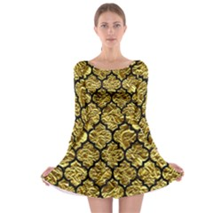 Tile1 Black Marble & Gold Foil (r) Long Sleeve Skater Dress