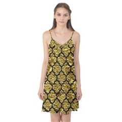 Tile1 Black Marble & Gold Foil (r) Camis Nightgown