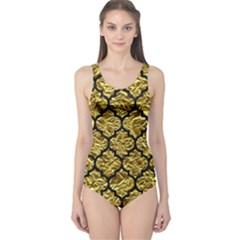 Tile1 Black Marble & Gold Foil (r) One Piece Swimsuit