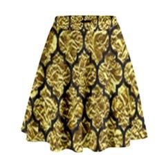 Tile1 Black Marble & Gold Foil (r) High Waist Skirt