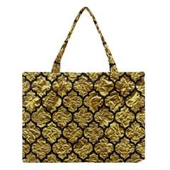 Tile1 Black Marble & Gold Foil (r) Medium Tote Bag