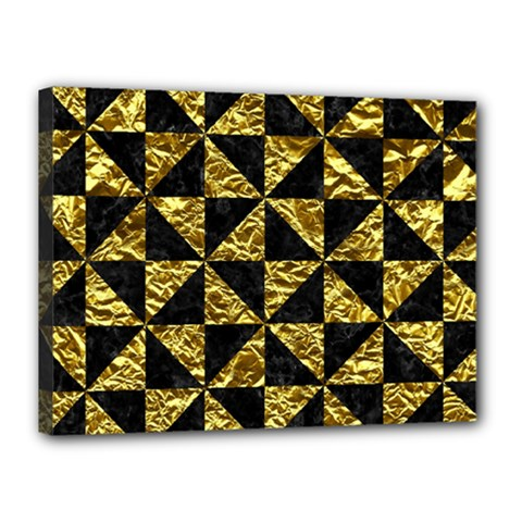 Triangle1 Black Marble & Gold Foil Canvas 16  X 12