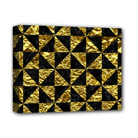Triangle1 Black Marble & Gold Foil Deluxe Canvas 14  X 11