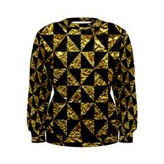 Triangle1 Black Marble & Gold Foil Women s Sweatshirt