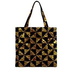 Triangle1 Black Marble & Gold Foil Zipper Grocery Tote Bag