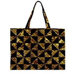 Triangle1 Black Marble & Gold Foil Zipper Mini Tote Bag