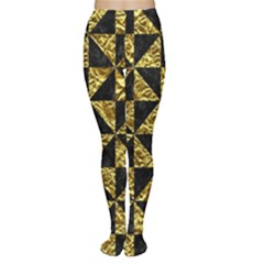 Triangle1 Black Marble & Gold Foil Women s Tights