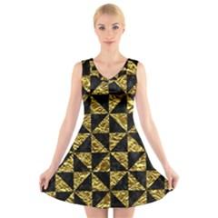 Triangle1 Black Marble & Gold Foil V Neck Sleeveless Skater Dress