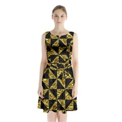Triangle1 Black Marble & Gold Foil Sleeveless Waist Tie Chiffon Dress