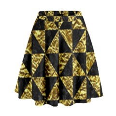 Triangle1 Black Marble & Gold Foil High Waist Skirt