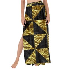 Triangle1 Black Marble & Gold Foil Maxi Chiffon Tie Up Sarong