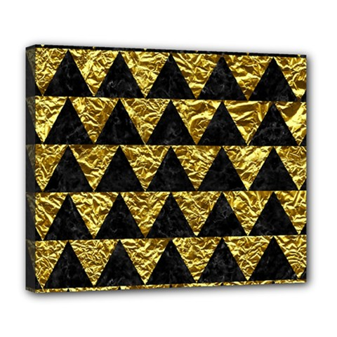 Triangle2 Black Marble & Gold Foil Deluxe Canvas 24  X 20