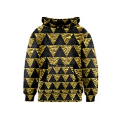 Triangle2 Black Marble & Gold Foil Kids  Pullover Hoodie