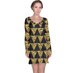 Triangle2 Black Marble & Gold Foil Long Sleeve Nightdress