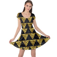Triangle2 Black Marble & Gold Foil Cap Sleeve Dress