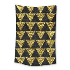 Triangle2 Black Marble & Gold Foil Small Tapestry