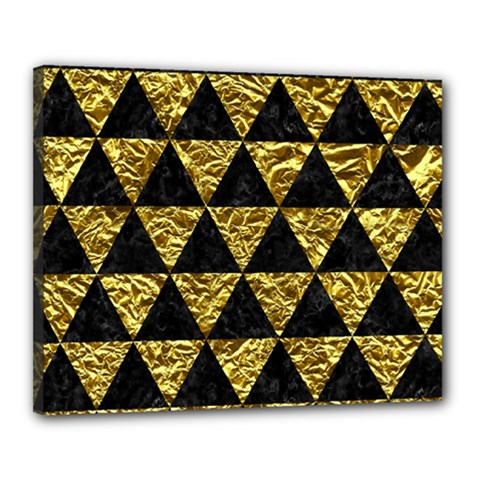 Triangle3 Black Marble & Gold Foil Canvas 20  X 16