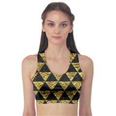 Triangle3 Black Marble & Gold Foil Sports Bra