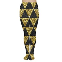 Triangle3 Black Marble & Gold Foil Women s Tights