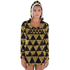 Triangle3 Black Marble & Gold Foil Long Sleeve Hooded T Shirt