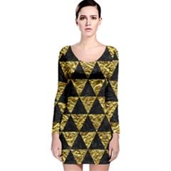 Triangle3 Black Marble & Gold Foil Long Sleeve Velvet Bodycon Dress