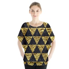 Triangle3 Black Marble & Gold Foil Blouse