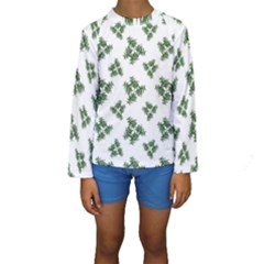 Nature Motif Pattern Design Kids  Long Sleeve Swimwear