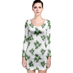 Nature Motif Pattern Design Long Sleeve Bodycon Dress