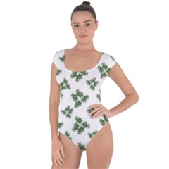 Nature Motif Pattern Design Short Sleeve Leotard