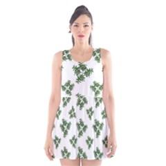 Nature Motif Pattern Design Scoop Neck Skater Dress