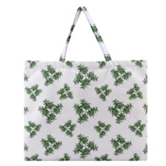 Nature Motif Pattern Design Zipper Large Tote Bag