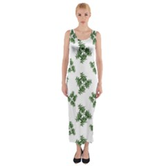 Nature Motif Pattern Design Fitted Maxi Dress