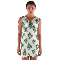 Nature Motif Pattern Design Wrap Front Bodycon Dress