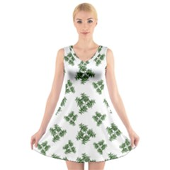 Nature Motif Pattern Design V Neck Sleeveless Skater Dress