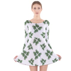 Nature Motif Pattern Design Long Sleeve Velvet Skater Dress