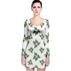 Nature Motif Pattern Design Long Sleeve Velvet Bodycon Dress