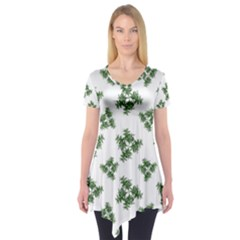 Nature Motif Pattern Design Short Sleeve Tunic