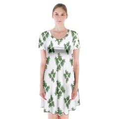 Nature Motif Pattern Design Short Sleeve V Neck Flare Dress