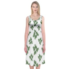 Nature Motif Pattern Design Midi Sleeveless Dress