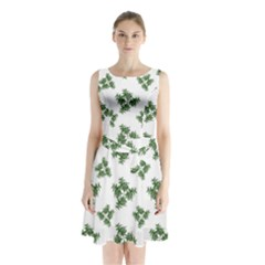 Nature Motif Pattern Design Sleeveless Waist Tie Chiffon Dress