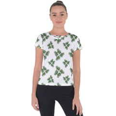 Nature Motif Pattern Design Short Sleeve Sports Top