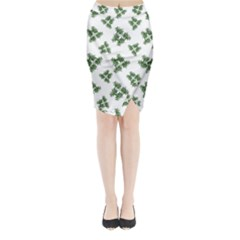 Nature Motif Pattern Design Midi Wrap Pencil Skirt
