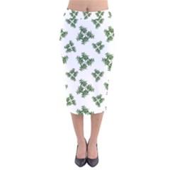 Nature Motif Pattern Design Velvet Midi Pencil Skirt