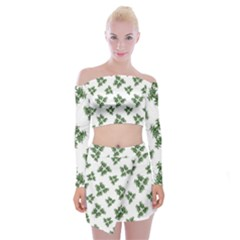 Nature Motif Pattern Design Off Shoulder Top With Skirt Set