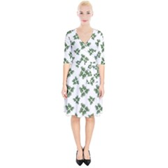 Nature Motif Pattern Design Wrap Up Cocktail Dress