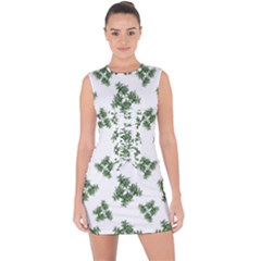 Nature Motif Pattern Design Lace Up Front Bodycon Dress