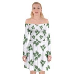 Nature Motif Pattern Design Off Shoulder Skater Dress