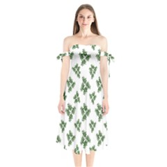 Nature Motif Pattern Design Shoulder Tie Bardot Midi Dress